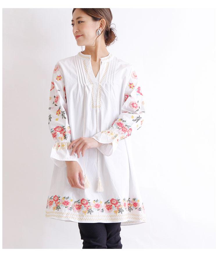 鮮やか花刺繍のシャツチュニック【9月16日8時販売新作】