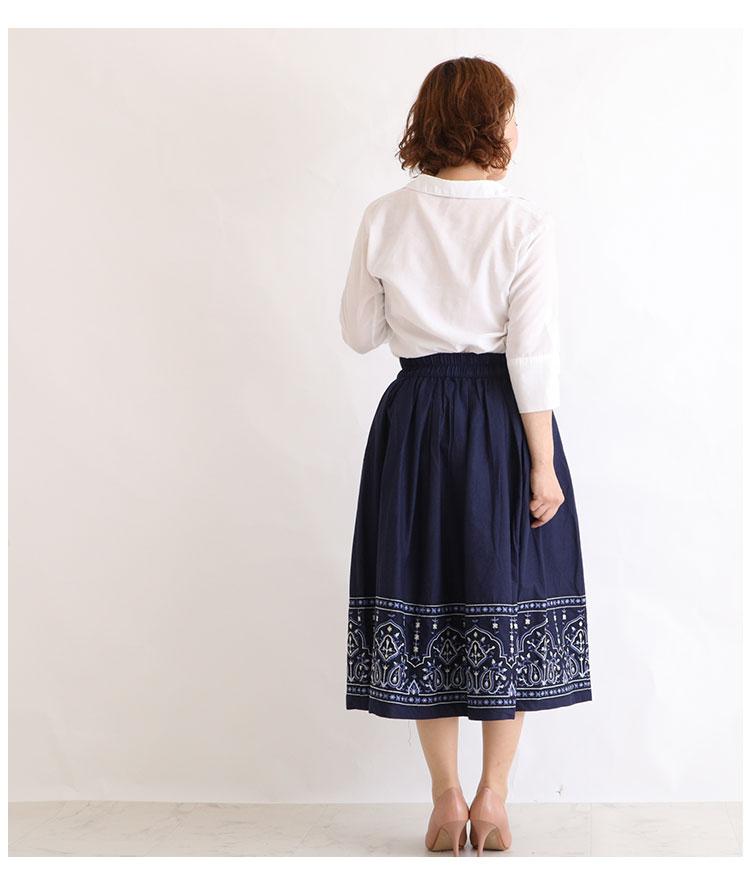 レトロな花刺繍付きコットンフレアスカート【9月28日8時販売新作】