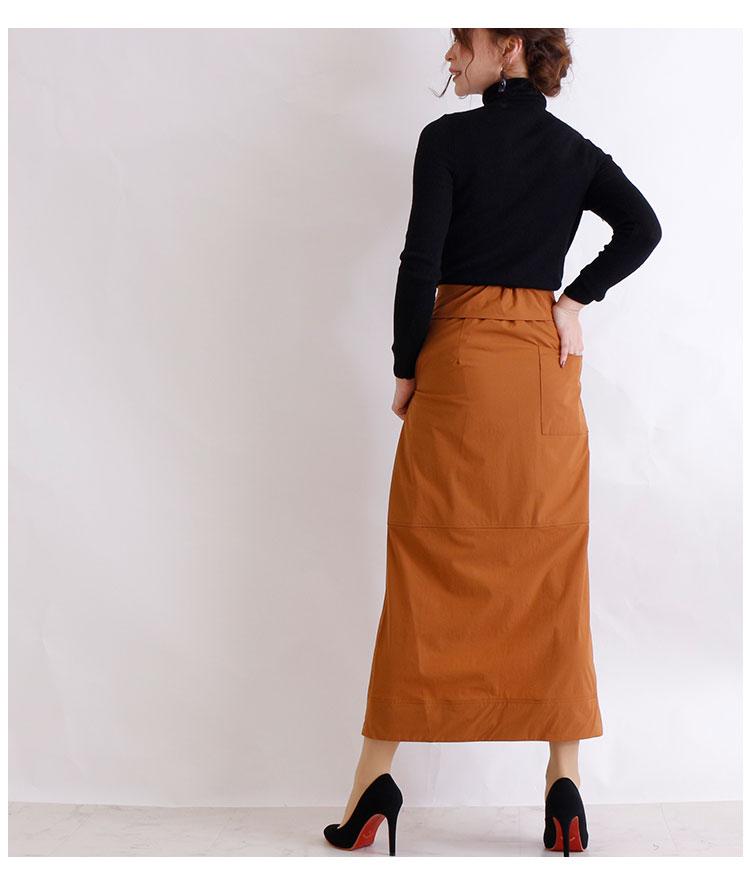 ウエストデザインのAラインロングスカート【9月30日8時販売新作】