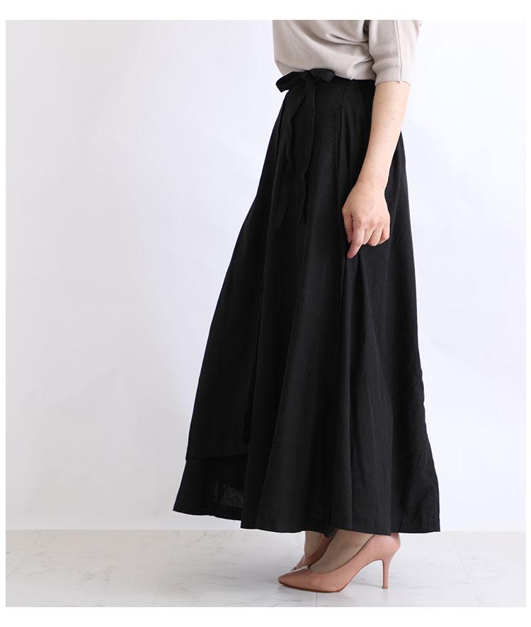 コットンリネン素材の巻きロングスカート【10月7日8時販売新作】