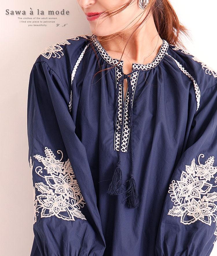 花刺繍付きふんわり袖のコットントップス