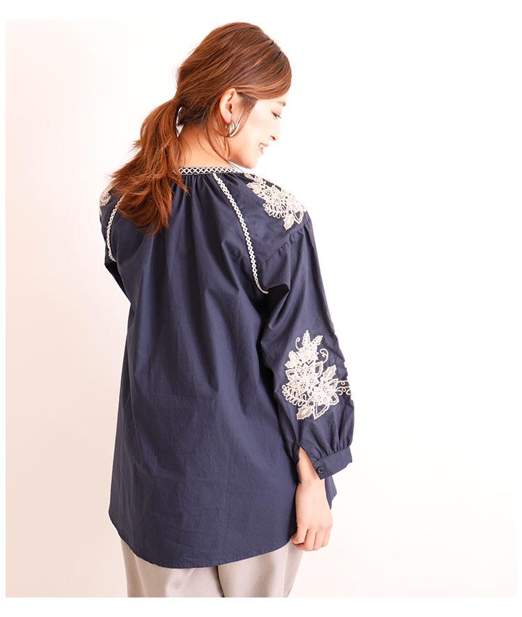 花刺繍付きふんわり袖のコットントップス【10月9日8時販売新作】