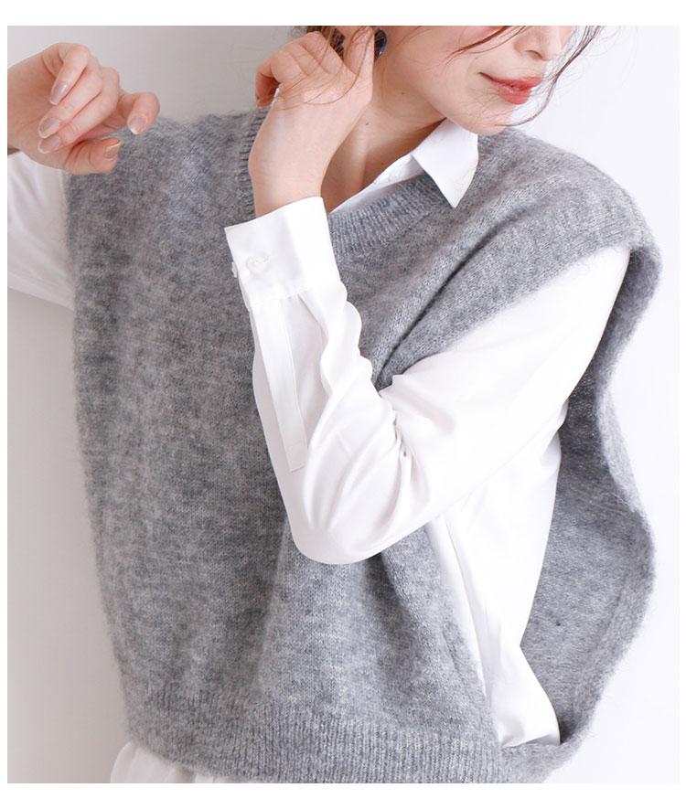 シンプルな柔らか起毛ニットベスト【10月7日8時販売新作】