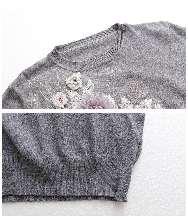 花コサージュ刺繍ニットトップス【10月12日8時販売新作】