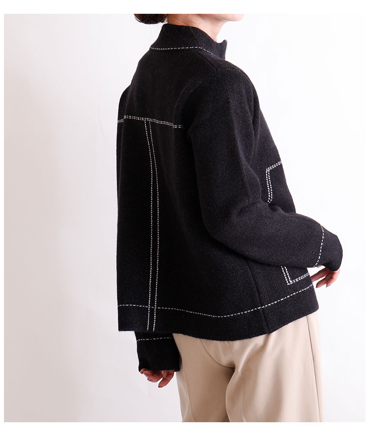 ステッチニットブルゾン【10月14日8時販売新作】