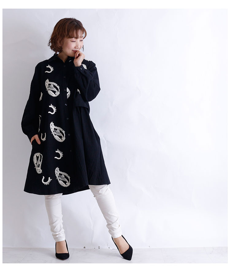 ペイズリー刺繍付きシャツチュニックワンピース【10月19日8時販売新作】