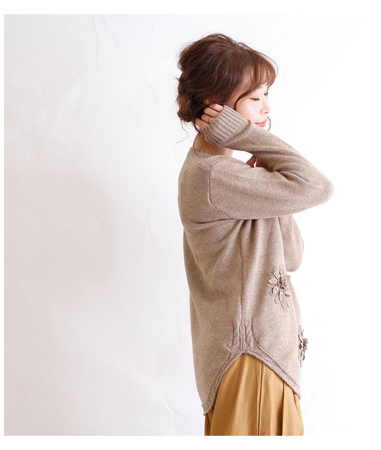 花コサージュ付きニットトップス【10月26日8時販売新作】