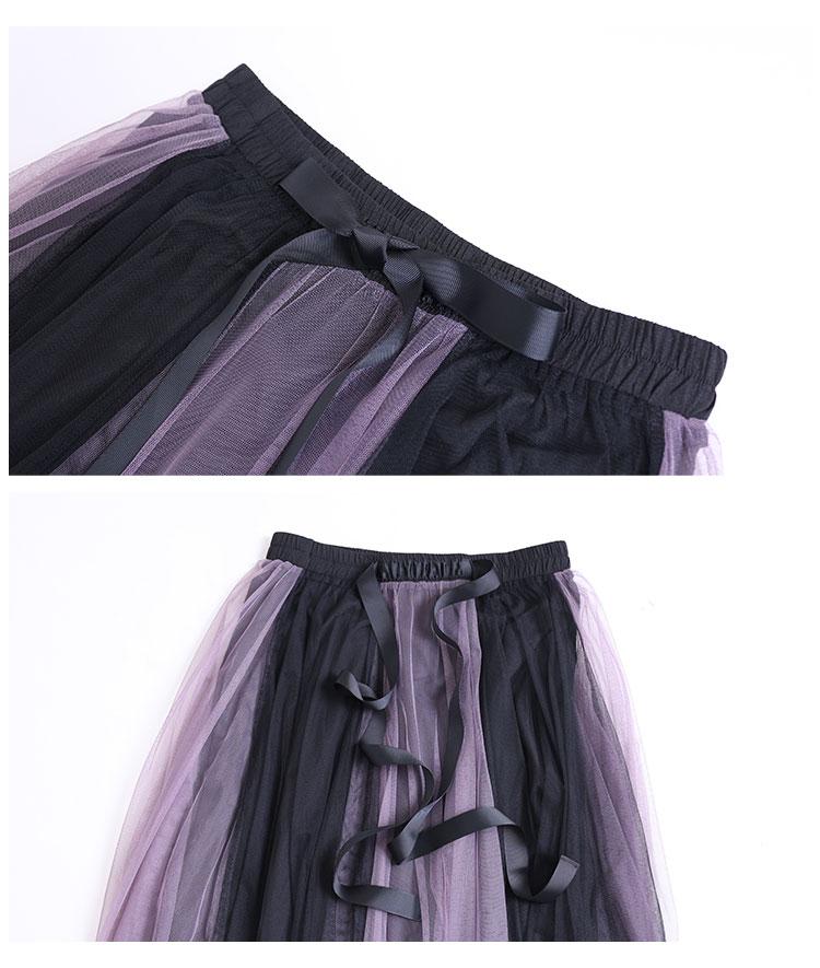 ウエストリボンのチュールフレアスカート【10月28日8時販売新作】