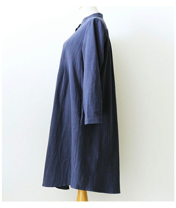 スタンドカラーのコットンシャツチュニック【10月30日8時販売新作】
