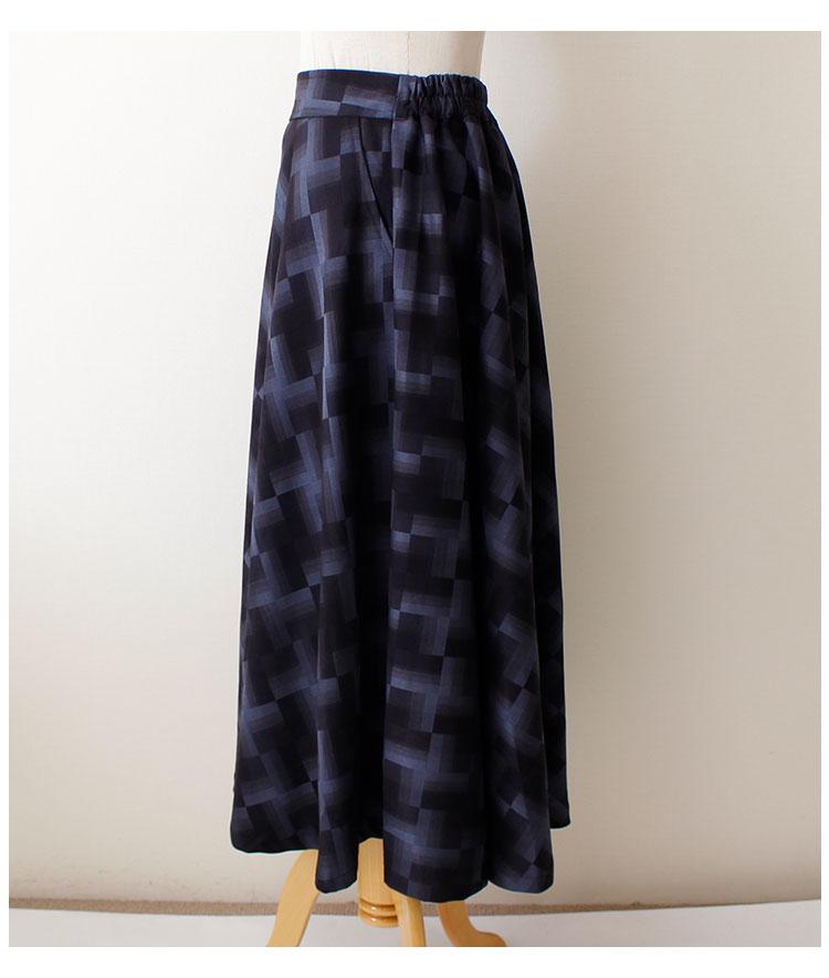幾何学模様のマキシフレアスカート【10月28日8時販売新作】