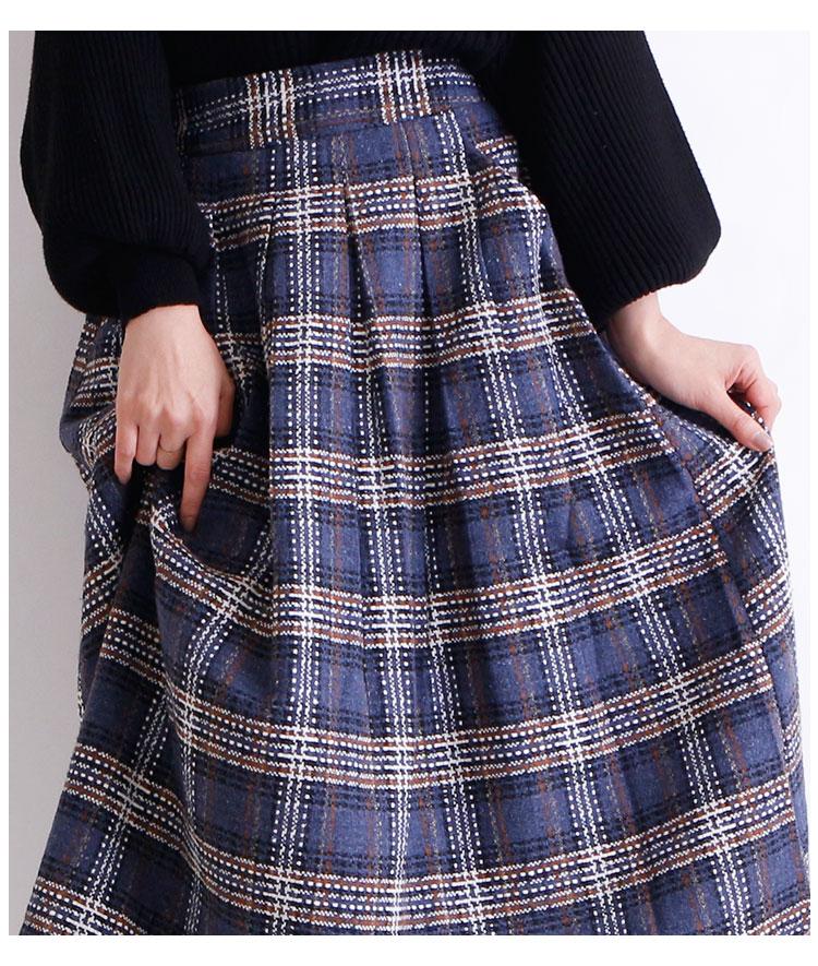 チェック模様のタックフレアスカート【10月30日8時販売新作】