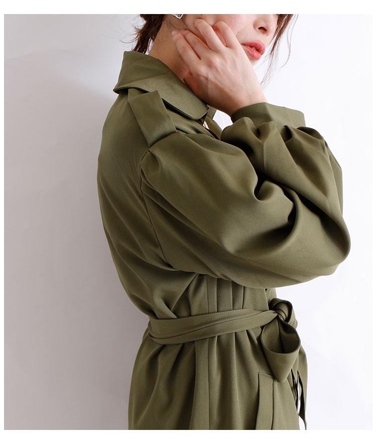 バルーン袖のベルト付きトレンチコート【11月9日8時販売新作】