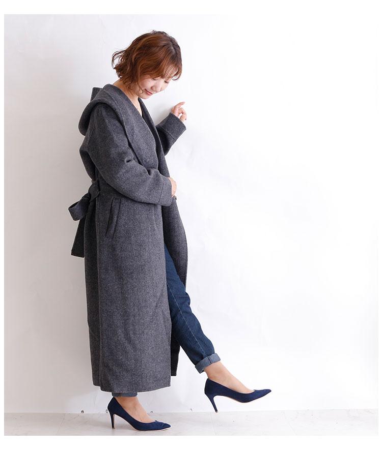 フード付きヘリンボーン模様のロングコート【11月4日8時販売新作】
