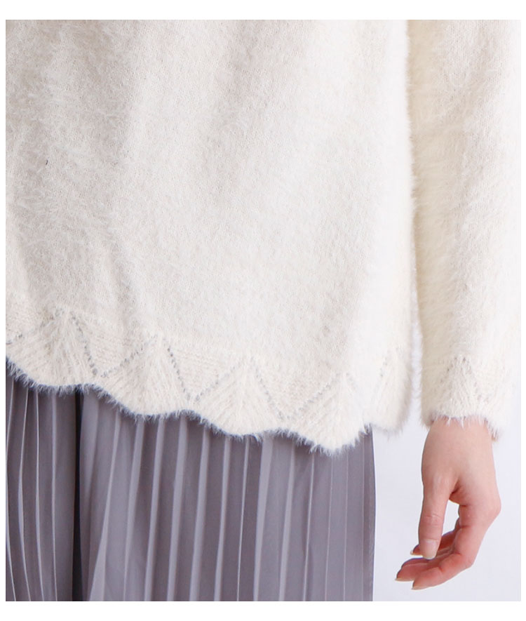 スカラップ裾のパールネックフェザーニット【11月4日8時販売新作】