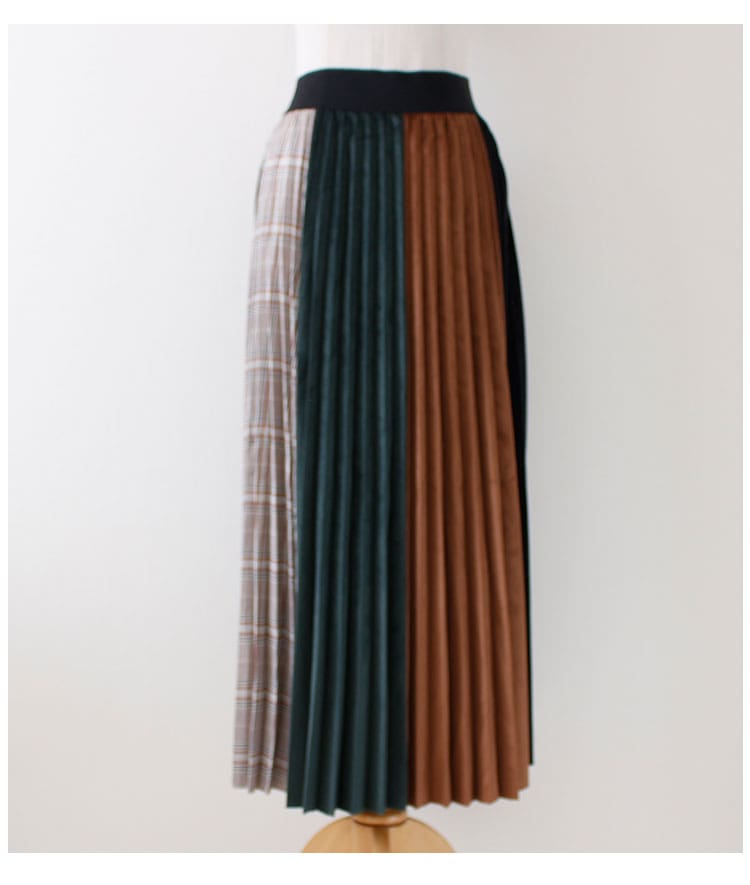 異素材ミックスのマルチストライププリーツスカート【11月16日8時販売新作】