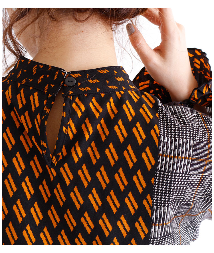 袖裾プリーツのパッチワーク柄ワンピース【11月16日8時販売新作】
