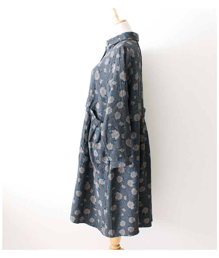 ノスタルジックな花柄のシャツチュニックワンピース【11月20日8時販売新作】
