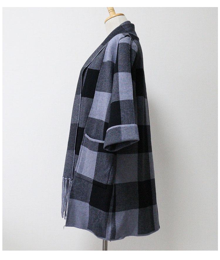 裾フリンジのニットチェックカーディガン【11月23日8時販売新作】