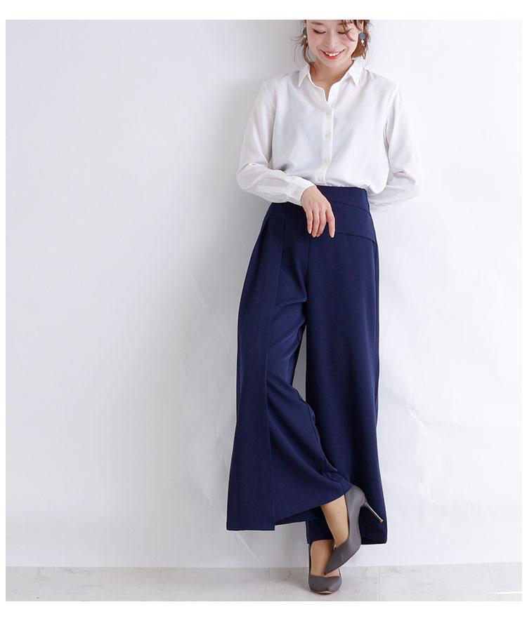 斜めぺプラムのきれいめロングワイドパンツ【11月30日8時販売新作】