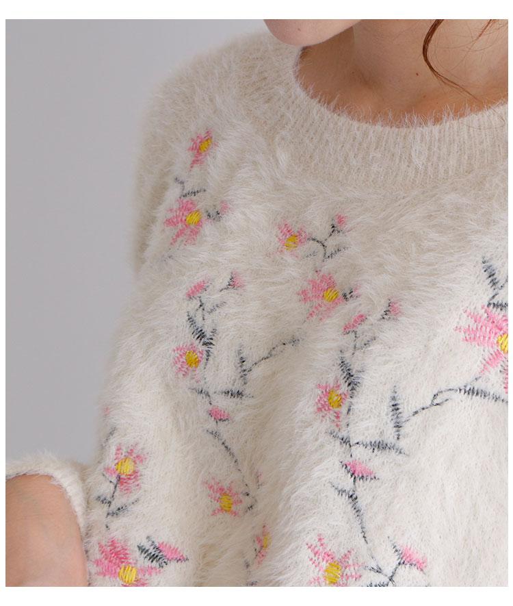 可愛い花柄刺繍のふわふわモヘアニットトップス【11月30日8時販売新作】