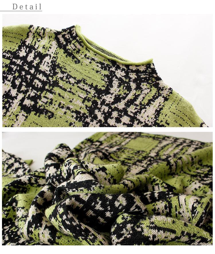 ドルマンリブ袖の手描き風チェック柄ニットワンピース【12月25日8時販売新作】