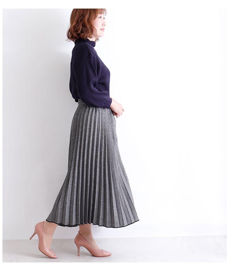 前ボタンのヘリンボーンツイードプリーツスカート【1月4日8時販売新作】