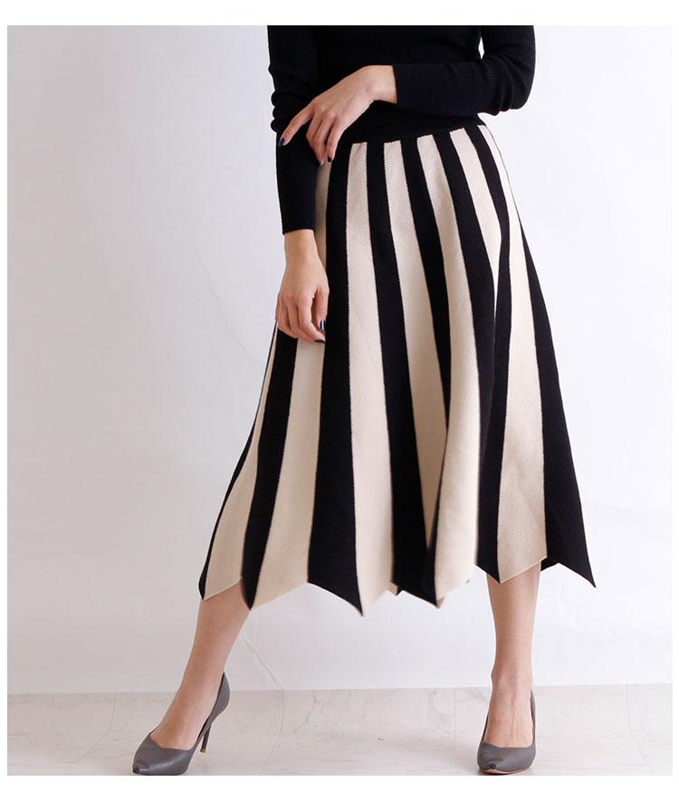 白黒ストライプの変形ニットプリーツスカート【1月4日8時販売新作】