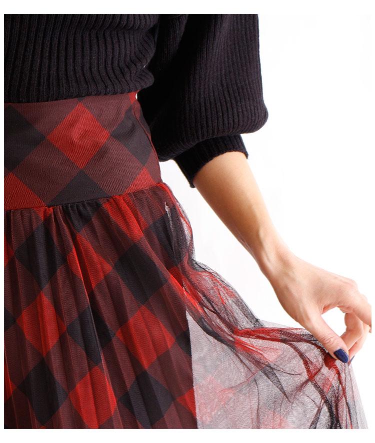 ブロックチェック柄のチュールプリーツスカート【1月6日8時販売新作】