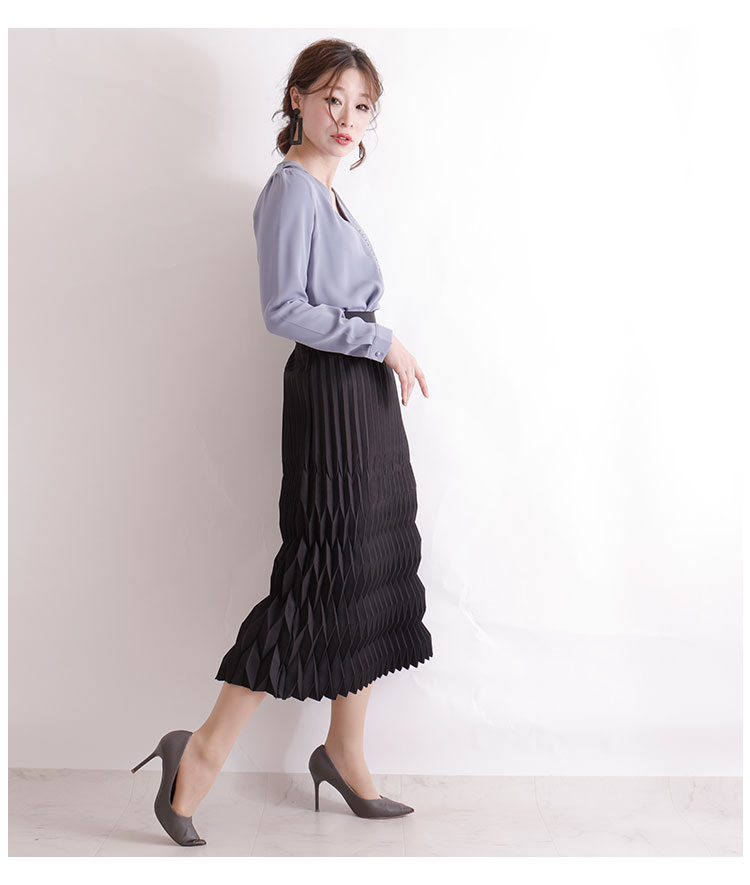 矢絣織風の変形プリーツスカート【1月20日8時販売新作】