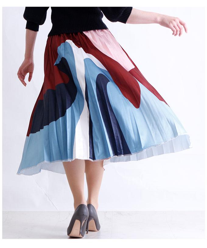 抽象画のような総柄ウエストゴムスカート【2月1日8時販売新作】