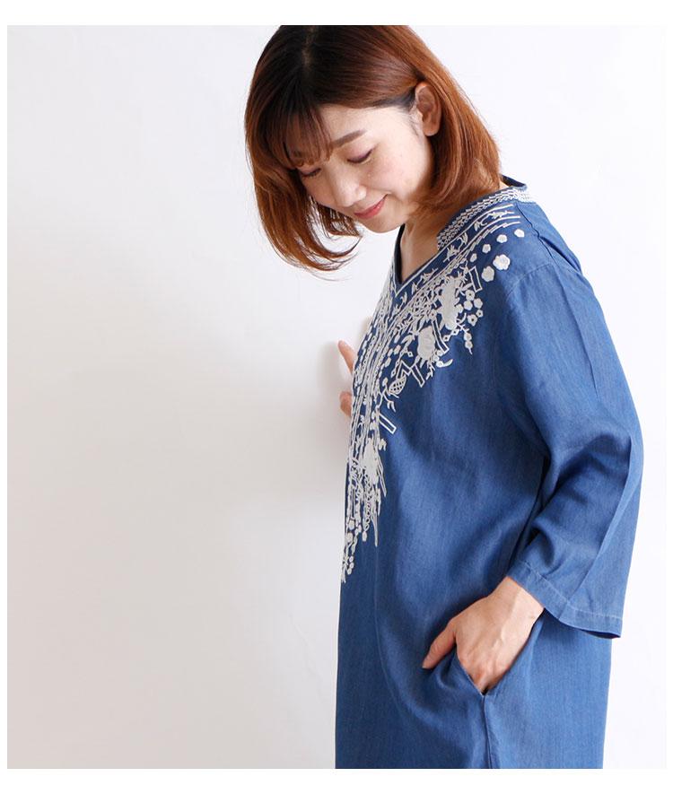 レトロ刺繍付きスリットデニムワンピース【1月27日8時販売新作】