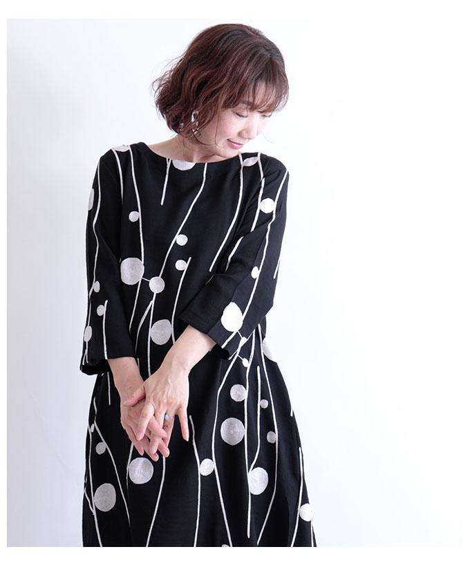 レトロなドット刺繍のチュニックワンピース【2月15日8時販売新作】
