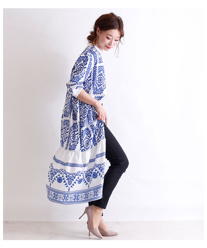 オリエンタル模様のシャツロングワンピース【2月10日8時販売新作】