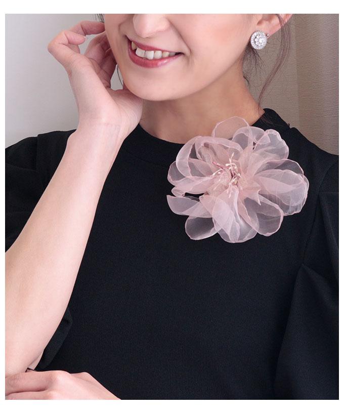 オーガンジー花モチーフのコサージュ【2月26日8時販売新作】