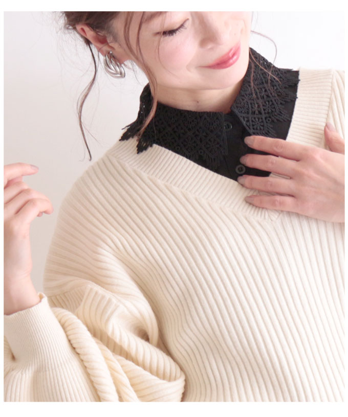 重ね着風レース付け襟ストラップ付き黒襟【2月29日8時販売新作】