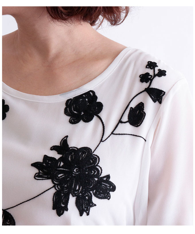 花柄刺繍のシフォンチュニック【3月4日8時販売新作】