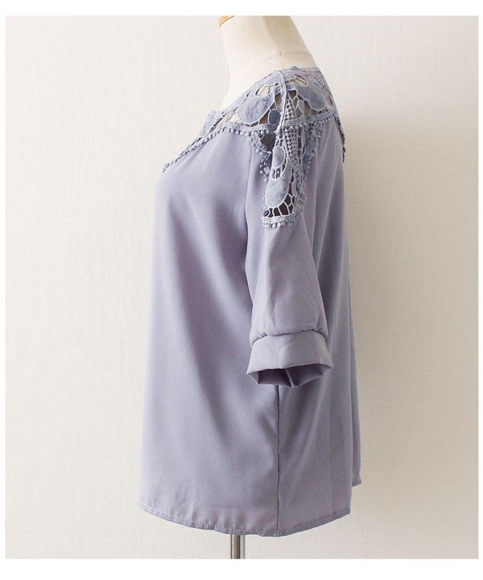 レースの透け感が美しい綺麗め五分袖トップス【3月23日8時販売新作】