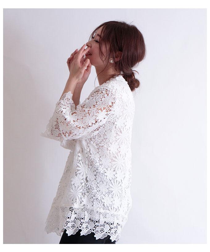 花の総レースフレア袖トップス【3月9日8時販売新作】
