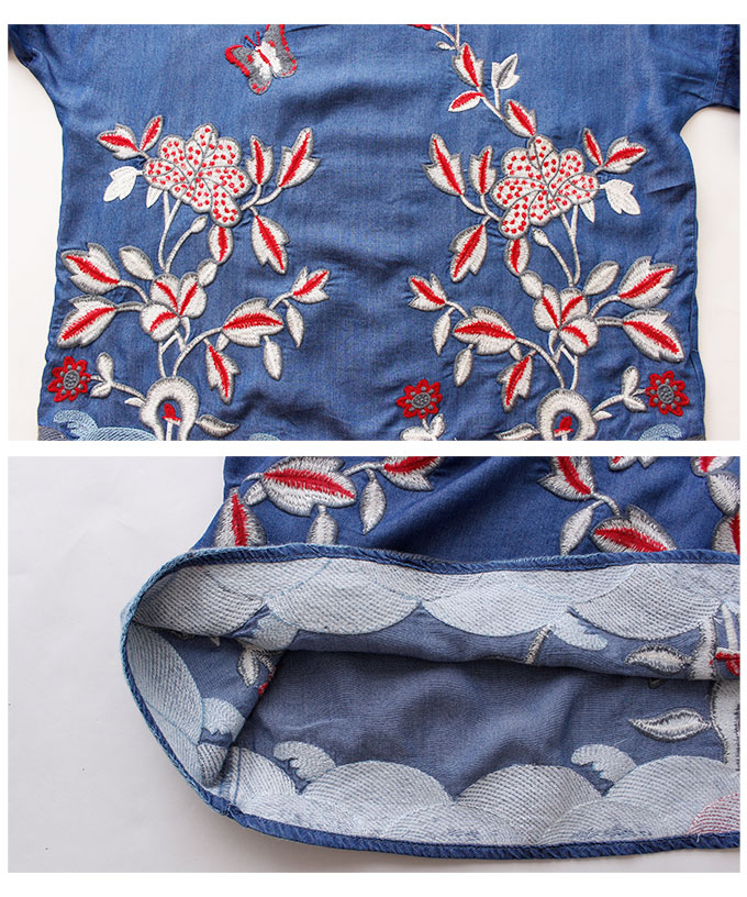 蝶と花柄のオリエンタル刺繍デニムブラウス【4月1日8時販売新作】