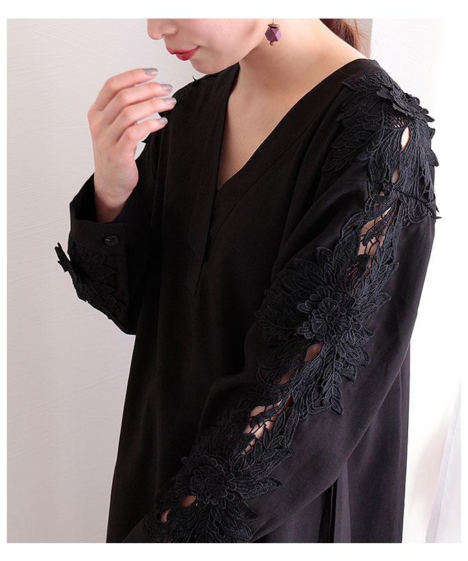 花刺繍レースの透かし袖ワンピース【3月30日8時販売新作】