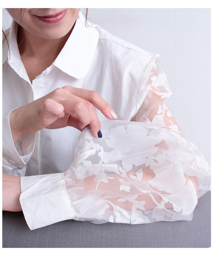シースルー花模様袖のシャツトップス【4月8日8時販売新作】