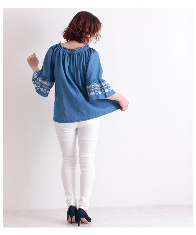刺繍付きフレア袖のコットントップス【5月6日8時販売新作】