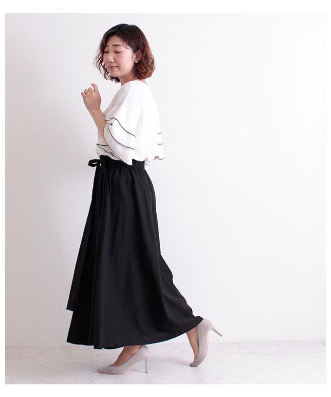 コットンリネンのラップ巻風ロングスカート【5月6日8時販売新作】