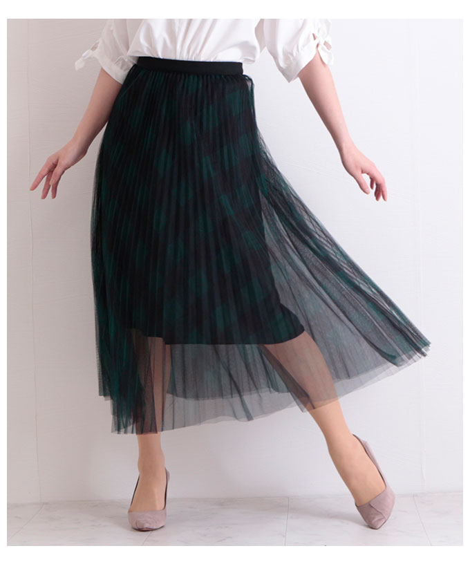 チェック模様透けるチュールプリーツスカート【5月9日8時販売新作】