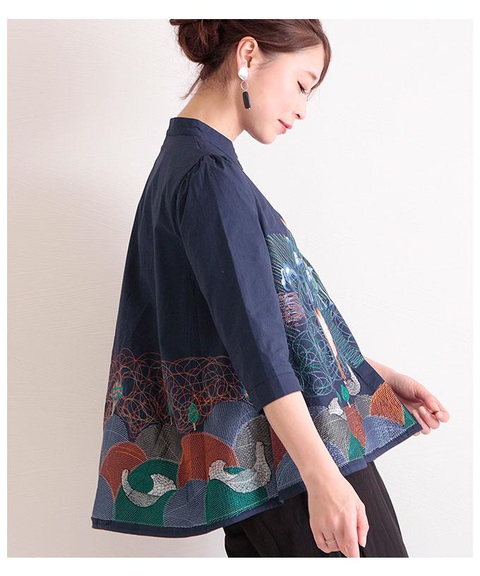 カラフルなワイルドバード刺繍の七分袖ブラウス【5月11日8時販売新作】