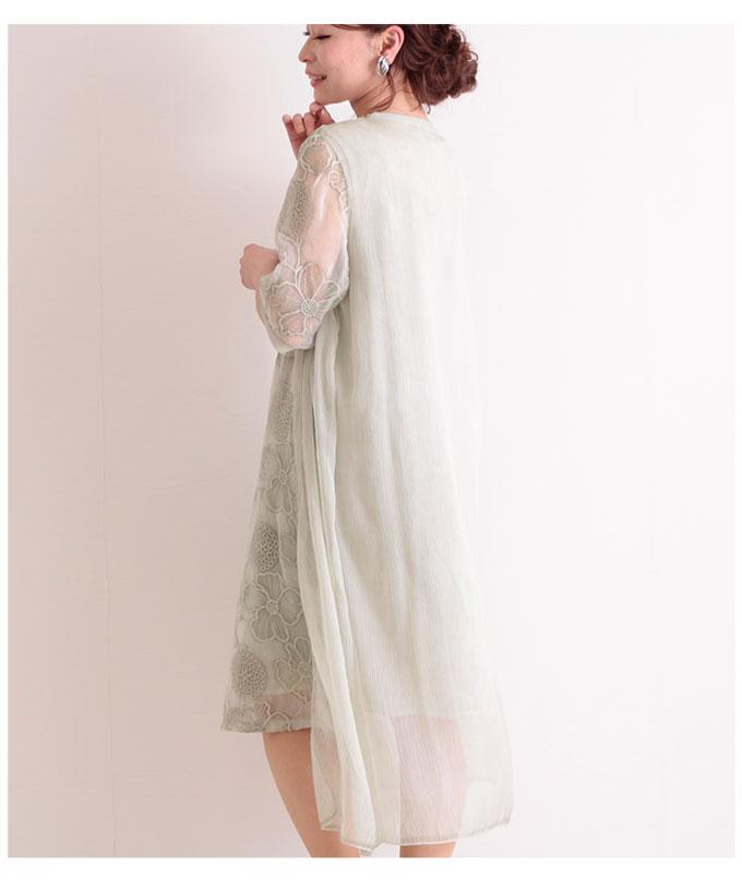 透け感ある花柄レースのレイヤードワンピース【5月11日8時販売新作】