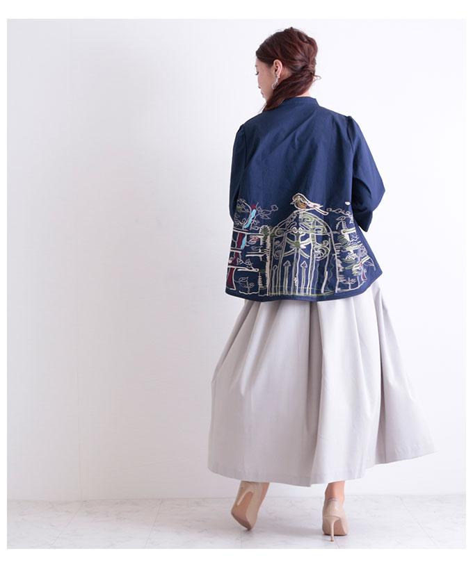 鮮やか刺繍のAラインコットントップス【5月16日8時販売新作】
