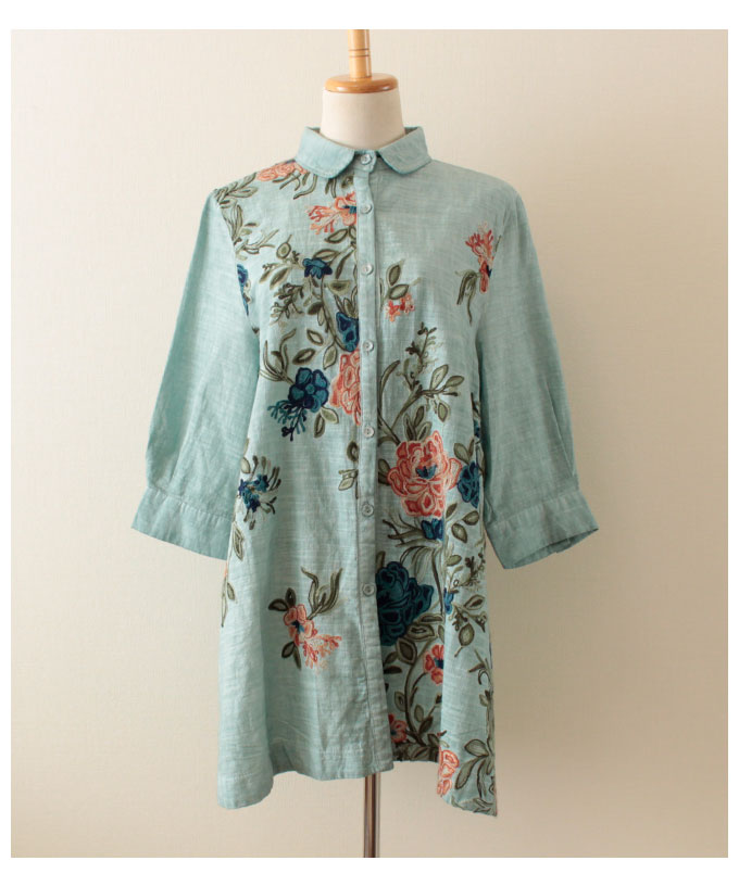 ヴィンテージ花刺繍のシャツトップス【5月20日8時販売新作】