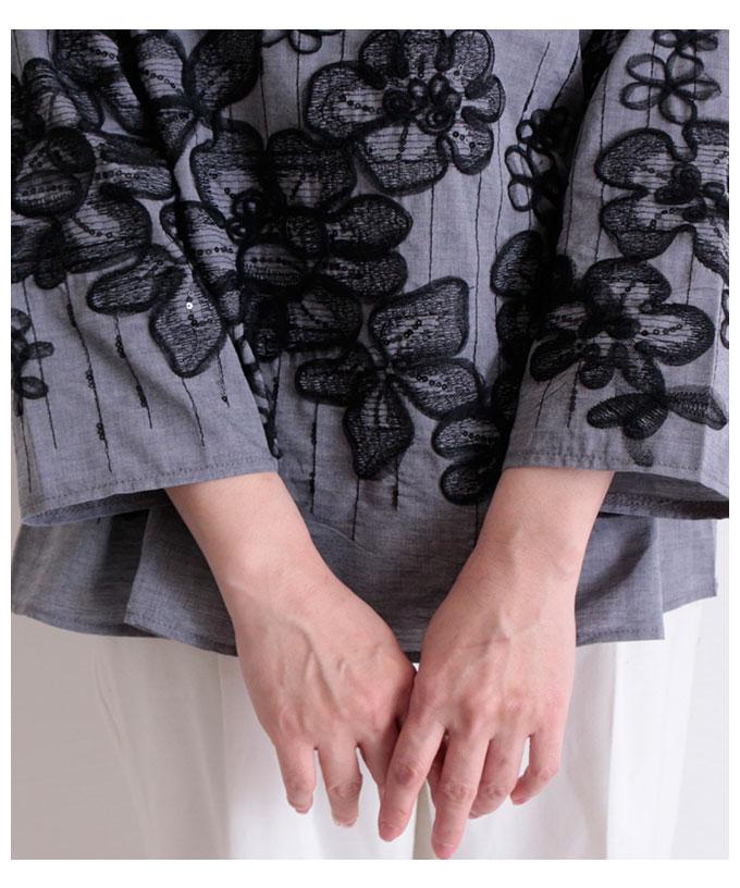 スパンコール付きフラワー刺繍のトップス【5月20日8時販売新作】