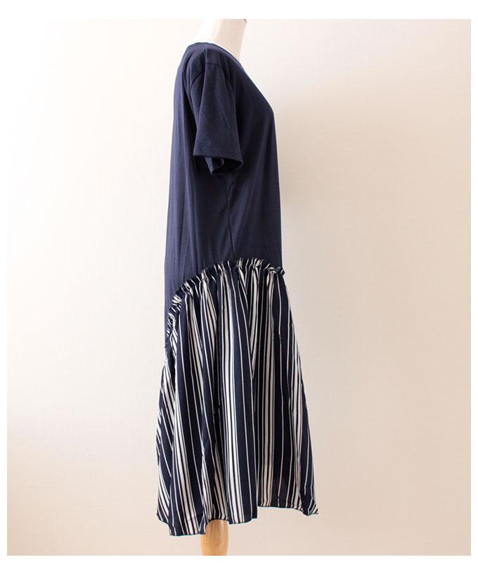 ストライプフリル裾切り替えのワンピース【5月25日8時販売新作】